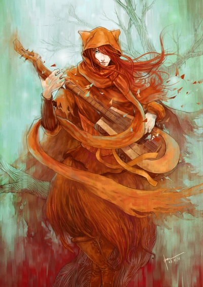 """The last pinner said: """"Wandering Minstrel"""" - But personally I think this is a rendition of 'Kvothe' from Patrick Rothfusse's 'The Name of the Wind'. I mean really, wild red hair, carrying a seven string lute... It's not a guarantee, but it's definitely a possibility."""