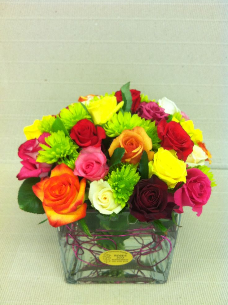 Beautiful Bright Bunch of Roses and Green Daisies