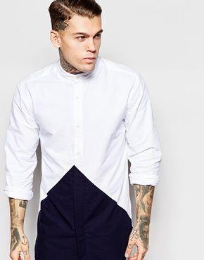 Nicce London Longline Diamond Shirt In Grandad Collar
