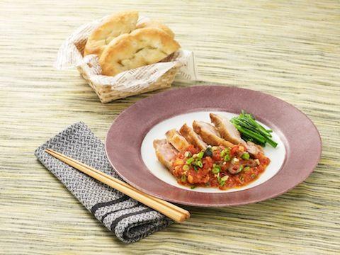 チキンの和風ピリ辛トマトソース(プッタネスカ)  https://recipe.yamasa.com/recipes/1217