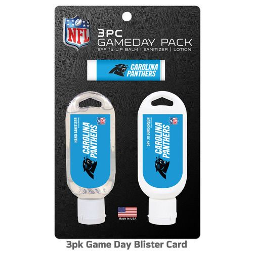 Carolina Panthers Hand Sanitizer Sunscreen Lip Balm 3pk