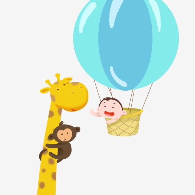 Childrens Day Hot Air Balloon Blue Yellow Giraffe Little Monkey Cute Animal Png Transparent Clipart Image And Psd File For Free Download Cute Animal Clipart Balloon Illustration Little Monkeys