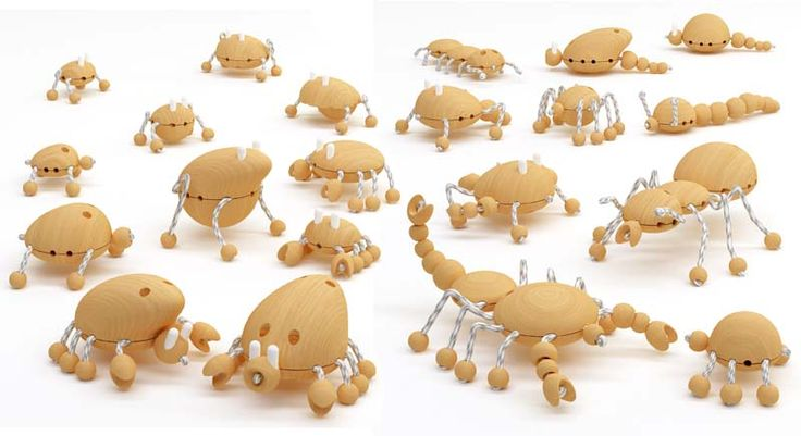 CWC © Dr.HAKAN GÜRSU / DESIGNNOBIS Creative Wooden Creatures kit allows children to create a wide range of animals by combining various body parts.