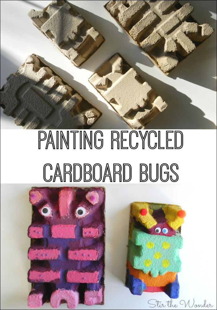 Painted recycled cardboard is so inspiring for kids! We painted these cardboard packaging pieces like bugs!