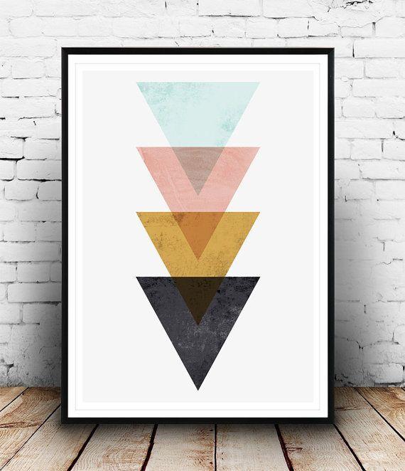 Minimalistische Wandkunst, Dreieck drucken, nordischen Stil, geometrische print, Mdoern drucken, Hom Design, abstrakt Wandkunst, Dreiecke Kunst, Wand drucken