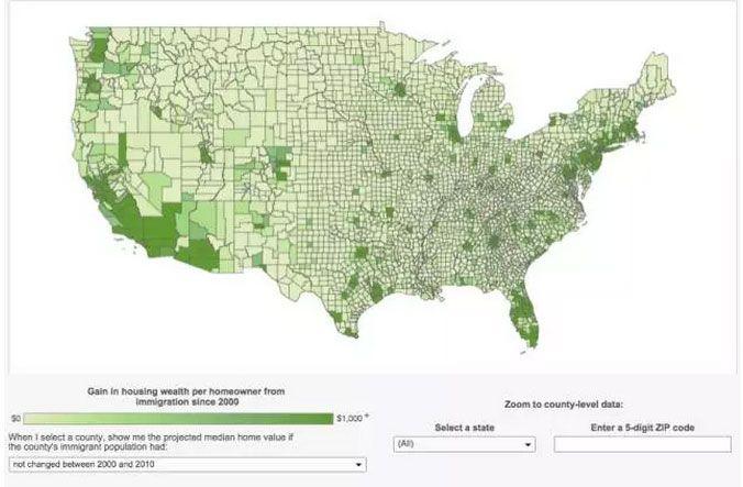 这是一个展示移民对住宅价值的影响的例子。读者可以通过他或她的邮政编码进入其当地的视图。接着互动的筛选会提供一个全州的视图以及一个有着全国视图的地图。
