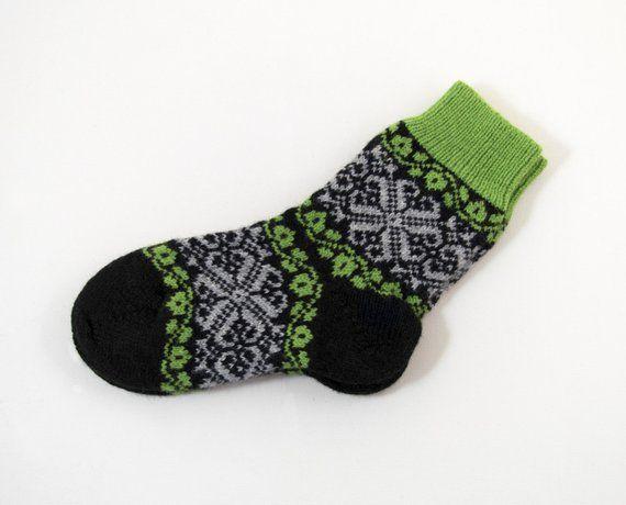 Green/&grey socks handmade knitted