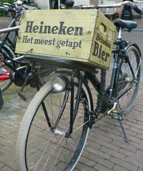 Old Heineken beer crate on bike | Amsterdam | Netherlands | Guided Tours | www.sightseeingholland.com