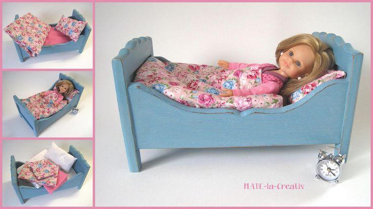 Puppenstubenmöbel - Puppenbett CLAIRE shabby chic - taubenblau-rosa  - ein Designerstück von MABE-la-Creativ-Kids bei DaWanda
