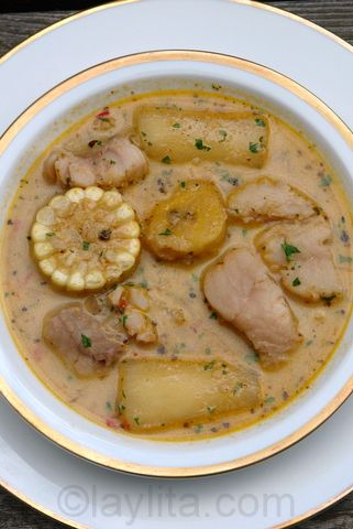 Ecuadorian biche soup made with fish, plantains, corn and yuca in a peanut broth