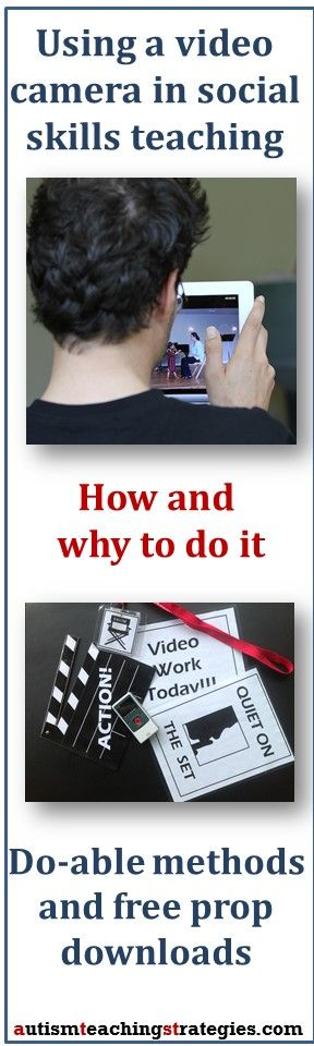 Using a video camera in social skills teaching can be fairly easy and really fun instead of tedious and frustrating. Here is a practical guide, along with some free downloads of props you can use.