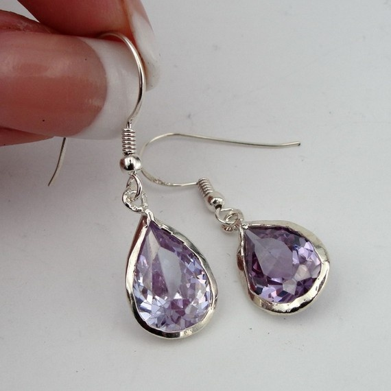 Jewela Sterling Silver Amethyst Earrings Super Sale by jewela, $35.00