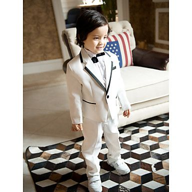 Three Pieces White Ring Bearer Suit Boys Tuxedo – USD $ 49.99