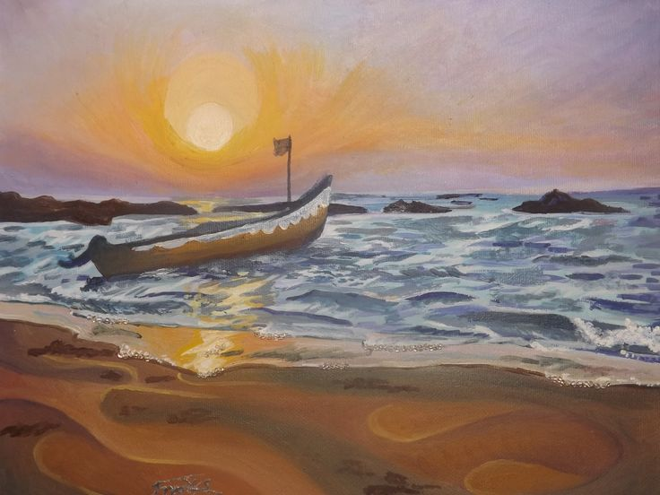 Arambol Beach. Oil painting by Jacqueline Franks, with bead detail.