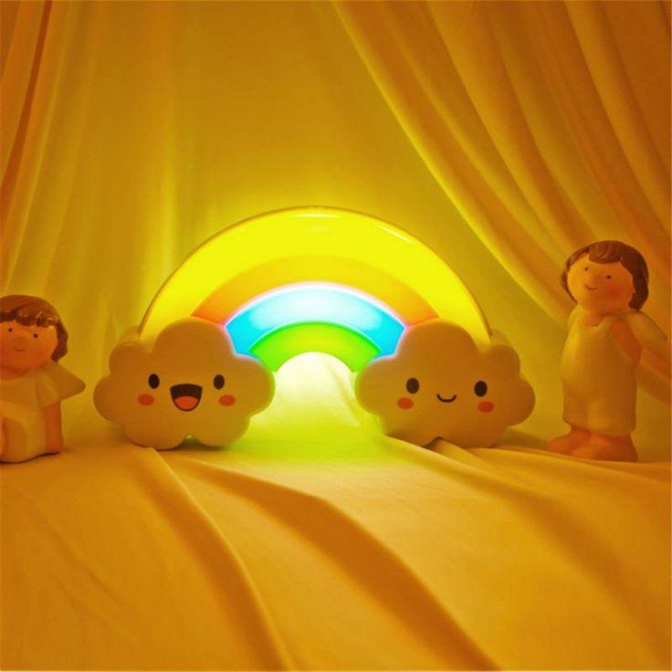 1.5V Rainbow LED Night Light Sound Light Control LED Lights For Baby Kids Room Decoration Bedside Nightlight Wall Declas