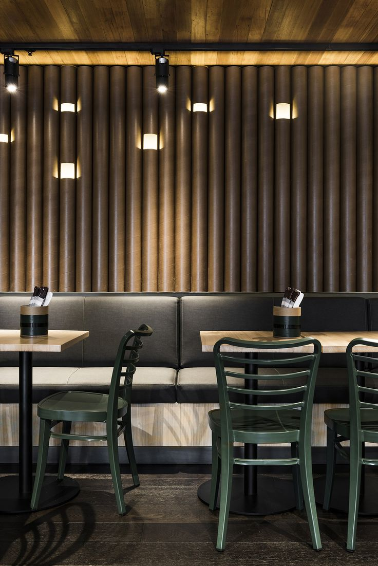 Cardboard Tube Feature Wall At Grillds New Melbourne Restaurant Techne