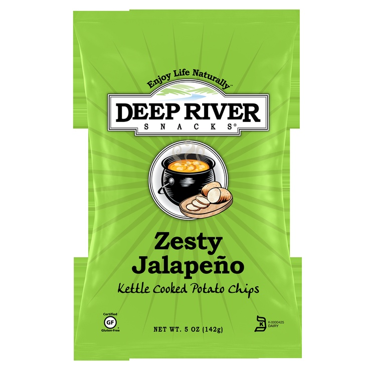 Deep River Zesty Jalapeno Potato Chips in a 5 oz Single Bags, Case of 12 or Case of 24 - 2 oz Bags