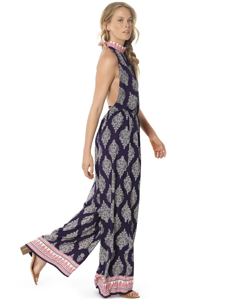 Regalinas open back border print jumpsuit #ss15