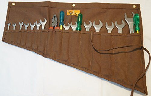 Pockets 16 Wrench Roll Up Organizer Canvas Bull Tools Holder Storage Assorted #Pockets16Wrench
