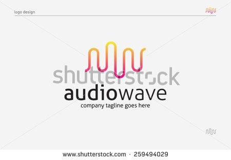 Logo template sound wave, music, dj, audio system, store. Brand, branding, company, corporate, identity, logotype. Clean and modern style design - stock vector