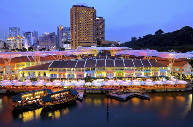 Private Tour: Singapore by Night Tour with Dinner along Singapore River 			Enjoy dinner by the riverside in Singapore and a stroll along night markets at the famous Bugis Street in Singapore. Also enjoy a famous 'Singapore Sling' at the world renowned Raffles Hotel - as the saying goes 'If you have not been to Raffles you have not been to Singapore'! 					Enjoy dining at Sizzling Rock by the riverside, where you can admire the night skyline sparkle on the water. After dinner, ...