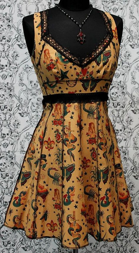 VINTAGE STYLE COCKTAIL DRESS - ANTIQUE TATTOO FLASH PRINT by Shrine Clothing Rockabilly Dresses Gothic Dresses