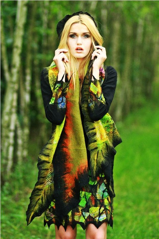 Nuno felted dress black color fashion for winter by ArtMode, $320.00