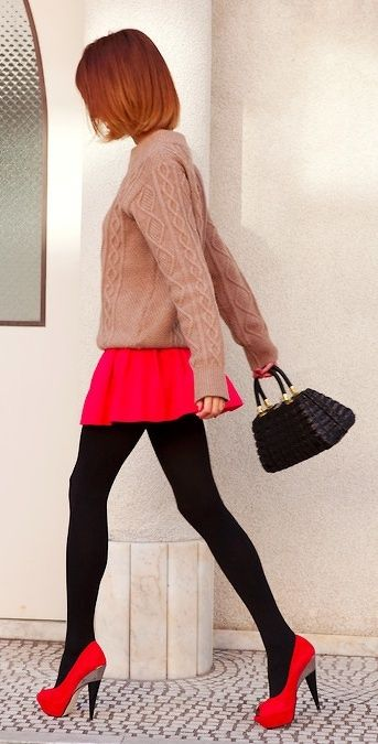 Love The Look With Black Stockings And Bright Scarlet