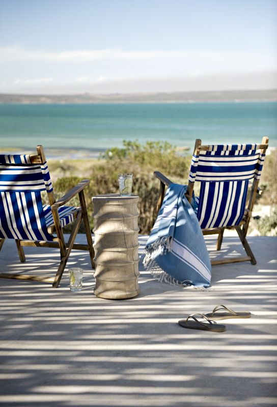 Love these crisp blue & white chairs. Whalers Way in Churchhaven http://www.perfecthideaways.co.za/beach-accomodation/whalers-way #beach #funinthesun #capetown