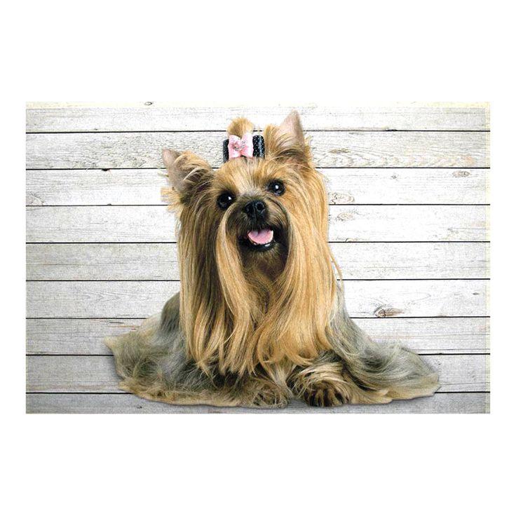 Tappeto YORKSHIRE cm 75x50 Tessuto Retro Semirigido Antiscivolo zerbino animali cani con soggetto un simpatico Yorkshire.  La superficie è lavabile, il retro è in materiale semirigido antiscivolo, il tappeto è lavabile in acqua.  Dimensioni cm 75x50x1  Materiale Tessuto - Retro Materiale Semirigido Antiscivolo