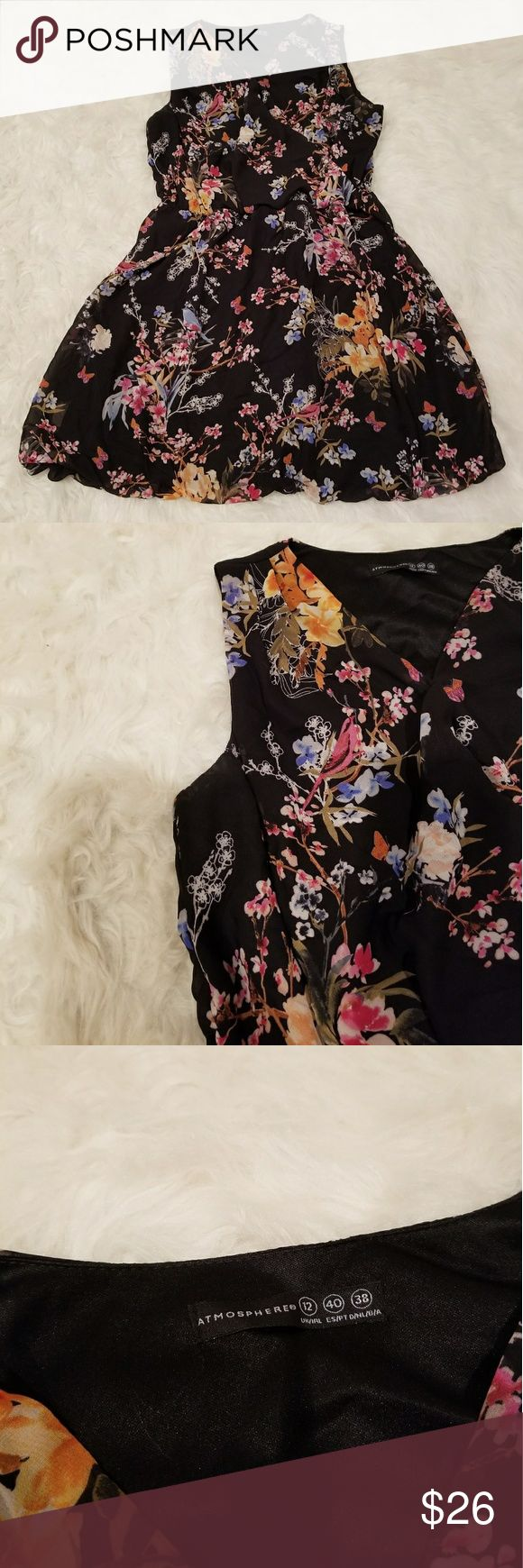"""Atmosphere floral print black summer dress size 10 Atmostphere Womens summer floral print black sleeveless dress size 12. Size 12 UK= size 10 US.  Pre-owned, in excellent condition.  Pit to pit: 15.5""""  Waist: 14-17+"""" (flexible waistband)  Length: 34""""  (Please see picture for description and item features) Atmosphere Dresses Mini"""