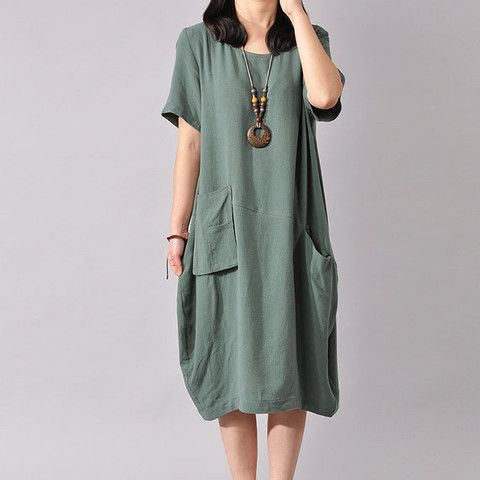 Women Cotton Linen Dress Loose Dress Summer Dress Short Sleeve Dress L – Tkdress