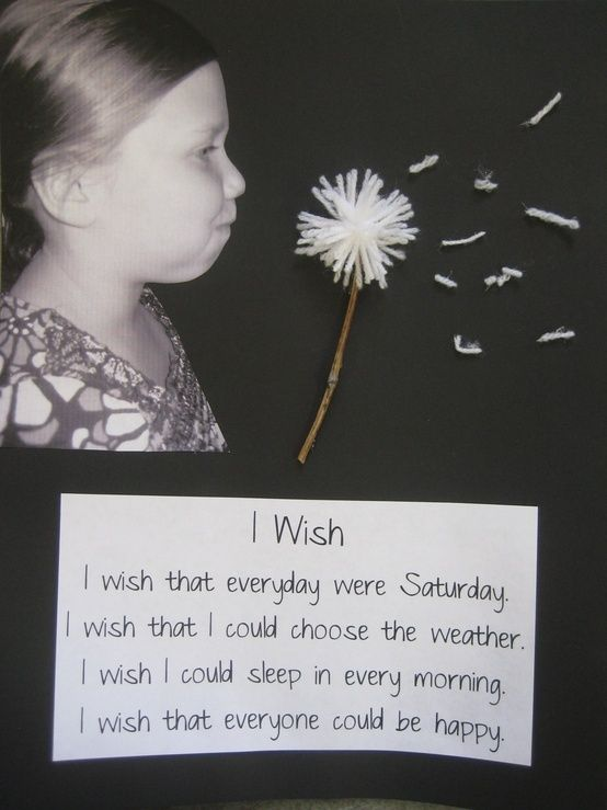 """cute """"i wish"""" writing activity. Take photos of children pretending to blow dandelion, then use art project of yarn and sticks for actual dandelion. so cute for preschoolers :) spring bulletin board *every day should be 2 words here bc you can replace it with each day!!!! I wished that saying was true LOL  