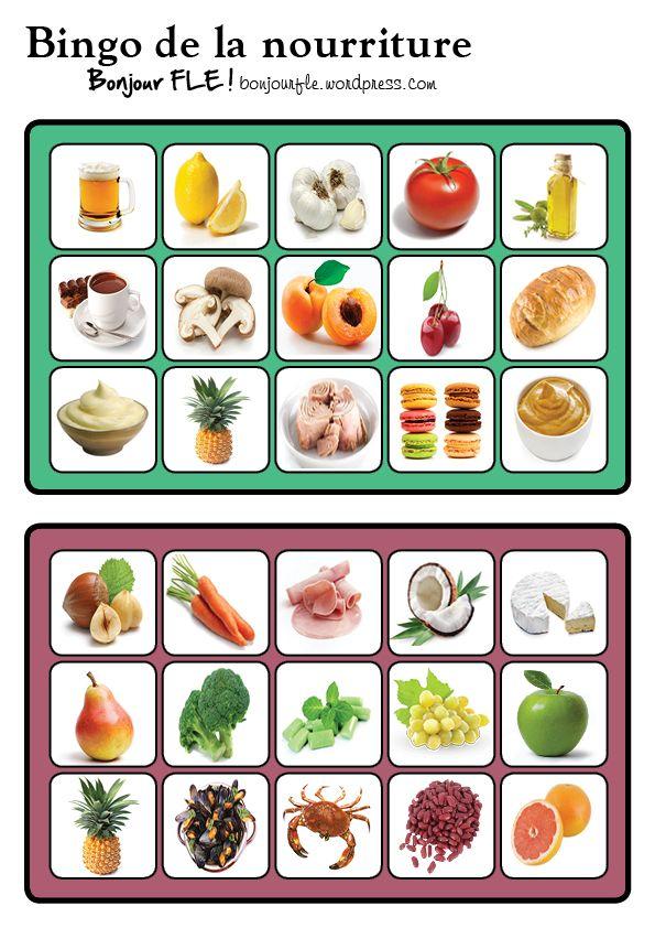 Voici quelques planches pour jouer au bingo avec le vocabulaire de la nourriture en français + les cartes à piocher : Le PDF : bingonourriture