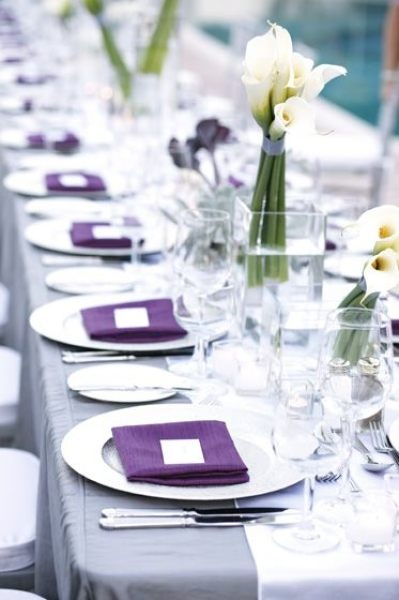 purple and grey; simple, beautiful napkins and place card settings
