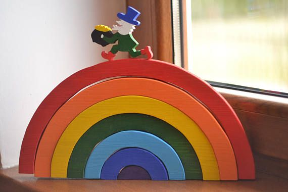 Wooden rainbow toy  Rainbow stacking toy  Waldorf toy