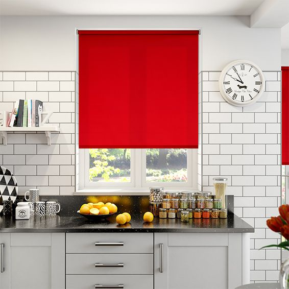 This Red Roller Blind Is So Vibrant With Its Hot Scarlet Colour. Think Of A