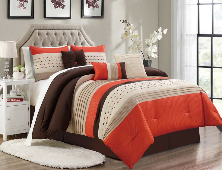 11 piece adrina orangetaupecoffee bed in a bag w500tc