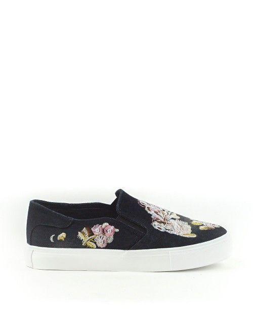 Slip on Sneakers Τζιν με κέντημα - Μαύρο 22,99 €