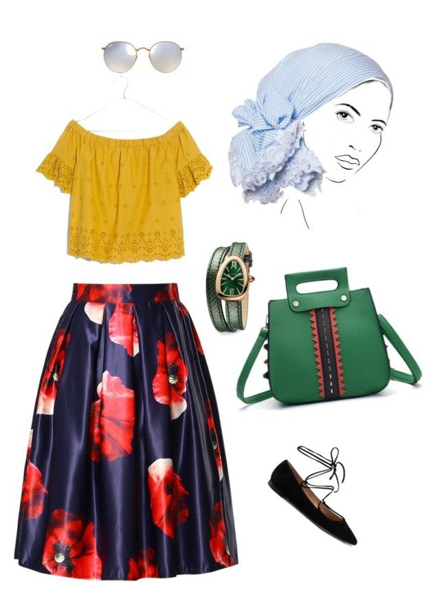 """""""маки"""" by dilmirai on Polyvore featuring Madewell, Gianvito Rossi, Ray-Ban, Rinati Lakel, Bulgari and WithChic"""