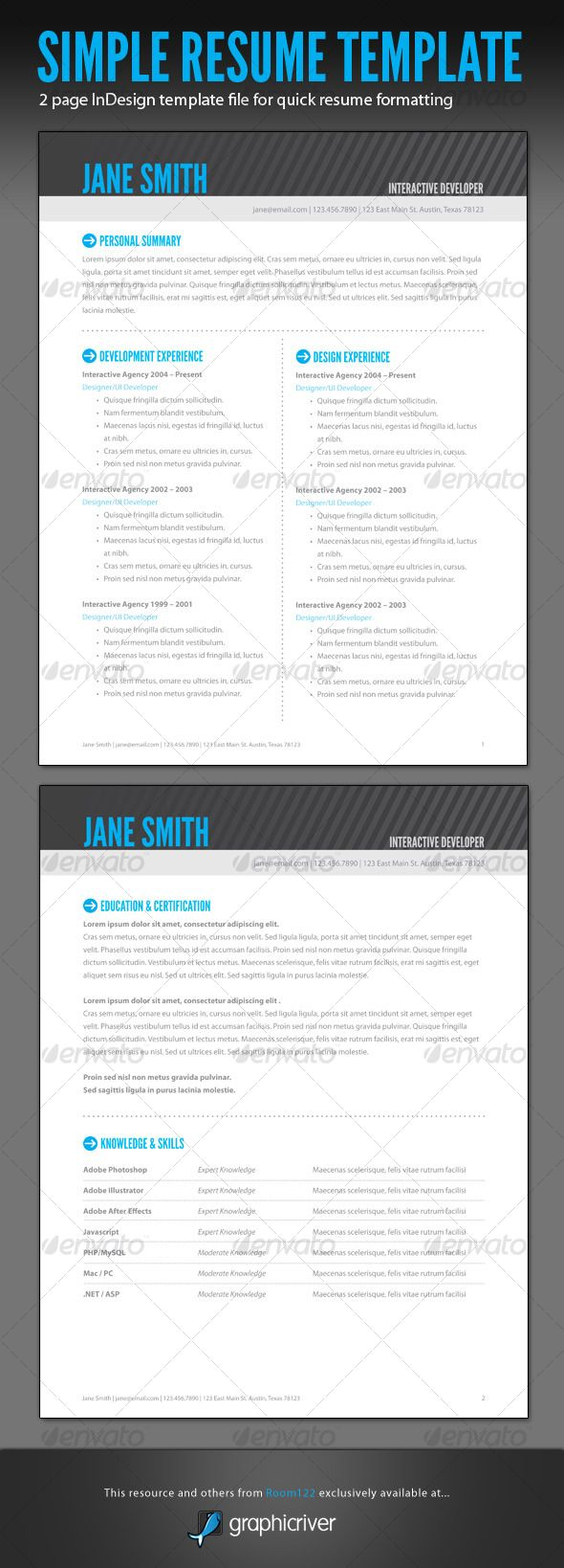 Simple Resume   InDesign Template  Resume In Indesign