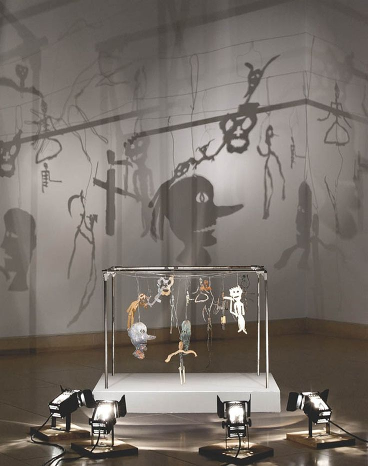 """Christian Boltanski (b. 1944) """"Théâtre d'ombres"""" (Theatre of Shadows) 16 figurines (metal, cardboard, wire, electrical tape, nails, pins, wood and leaves)"""