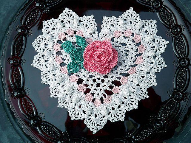 heart shake crochet doily