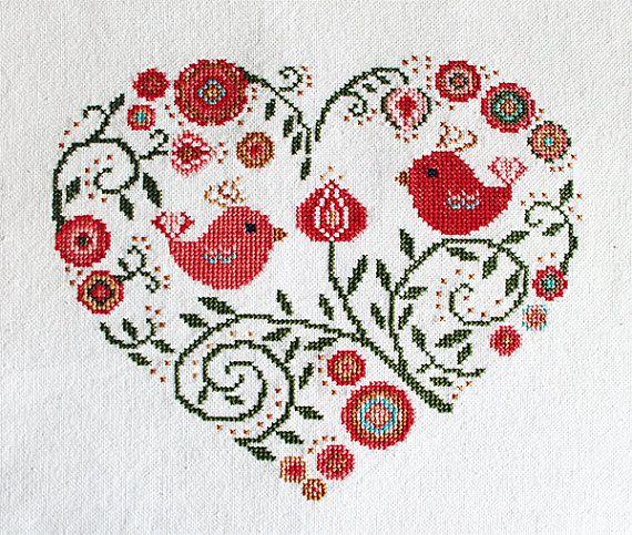 Cross stitch pattern, heart needlepoint, birds sampler, spring flowers…