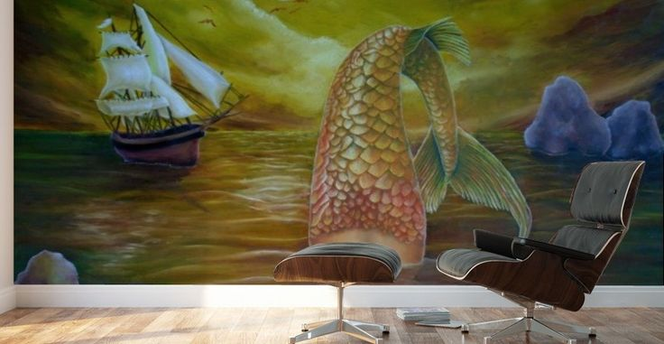 Mural Print, mermaid, home decor, ideas, wall art, for sale, painting, ocean,scene,fish,merpeople,tail,surreal,fantasy,water,vivid,colorful,golden,beautiful,awesome,cool,figurative,imaginary realism, images,modern,items,hand painted,pictorem