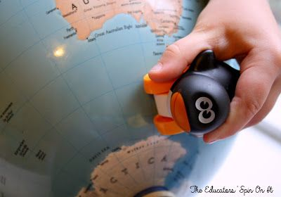 Raising global kids, using penguins to teach globe skills.  Finding places on a map and teaching northern and southern hemispheres.