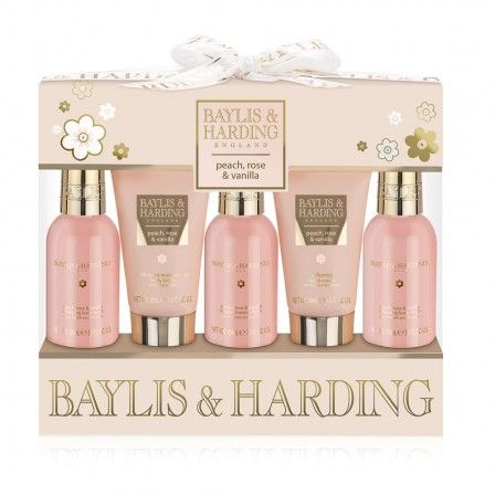 This Bath & Body Bottles Gift Set contains five, handy-sized pampering products in Baylis & Harding's Peach, Rose & Vanilla fragrance range.