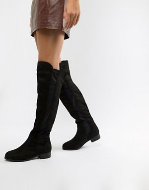 3314a839583 Boohoo flat over the knee boots in black