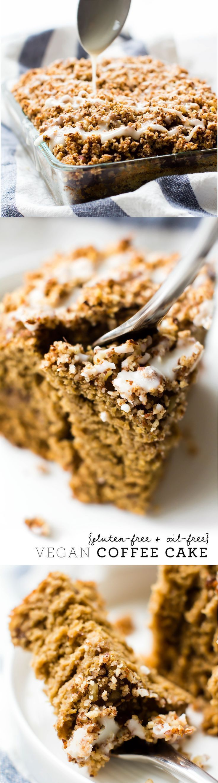 Moist fluffy oat flour cake with two layers of cinnamon streusel and a silky glaze on top--this Vegan Coffee Cake is a delectable baked morning treat! #glutenfree #oilfree #healthy