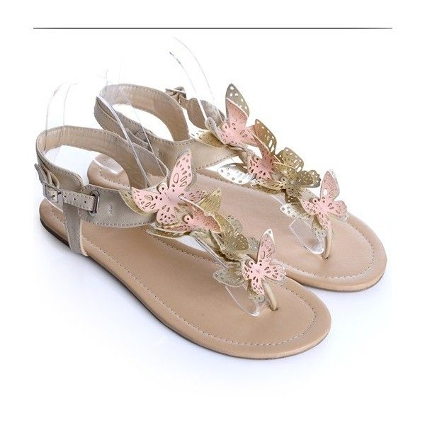 Plus Size Beautiful Butterfly Sandal Beige ❤ liked on Polyvore